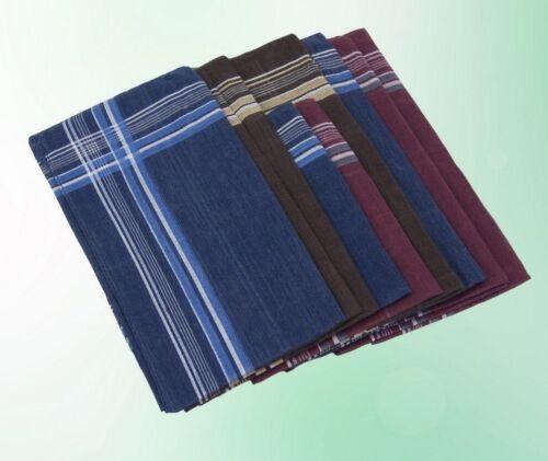 38 cm Packung Herren Taschentuch Kariert  Tuch Tücher Blau Braun 12 Stück 38