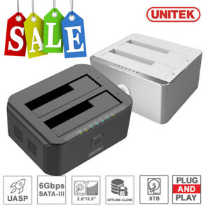 UNITEK USB 3.0 Dual Bay Hard Drive Offline Clone SATA HDD SSD Docking Station
