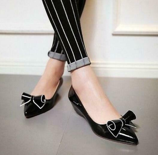 Womens Fashion Pumps Slip On Flat Sweet Bowknot Pointed Toe Low Heel Wedge Shoes