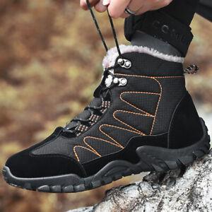 Hombres-Aire-Libre-Impermeable-Senderismo-Zapatos-Botas-De-Nieve-Invierno-Calido-Alta-top-de-algodon