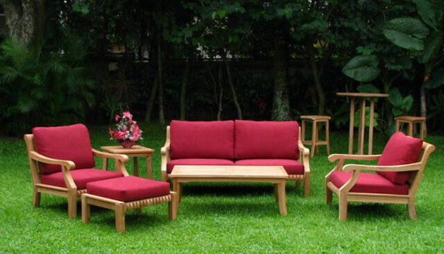 Giva Grade A Teak Wood 6 Pc Large Sofa Lounge Chair Set Outdoor Garden Patio