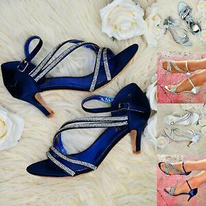 Women-Satin-Mid-Heel-Shoes-Diamante-Ankle-Strap-Evening-Wedding-Bridal-Prom-Size
