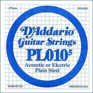 D'Addario PL010-5 - Corda Singola per Elettrica / Acustica (0105) - Italia - D'Addario PL010-5 - Corda Singola per Elettrica / Acustica (0105) - Italia