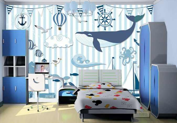 3D Pale Blau Dolphin Art Paper Wall Print Decal Wall Wall Murals AJ WALLPAPER GB