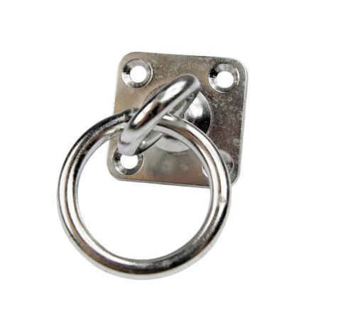 Edelstahl Augplatte mit Dreh Wirbel und Ring Wandhaken V2A D8 50x50mm