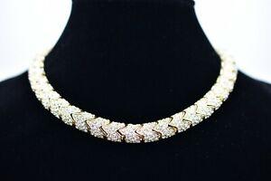 Ciner-Signed-Shiny-Rhinestone-Crystal-Gold-Choker-Collar-Necklace-Vintage-Bin1