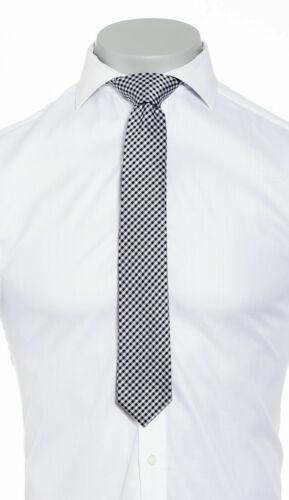 Mens Silk Tie Handmade Designer Black and White Check Wedding Work Necktie Party
