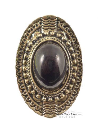 Vintage Bronze Large Tribal Black Pearl Jewellery Adjustable Ring
