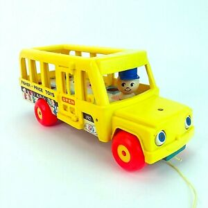 Vintage-1965-Fisher-Price-Little-People-School-Bus-1965-Pull-Toy-with-Driver-VGC