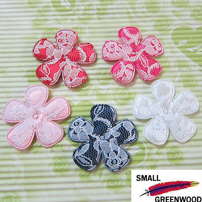 "(U Pick) Wholesale 50-500 Pcs 2"" Big Padded Satin W/ Lace Flower Appliques F3300"