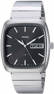 Fossil-FS5331-Men-039-s-Rutherford-38x41mm-Black-Dial-Silver-Stainless-Steel-Watch