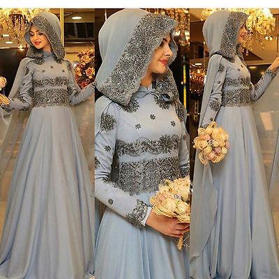 High Neck Arab Wedding Dresses Beads Muslim Bridal Gown