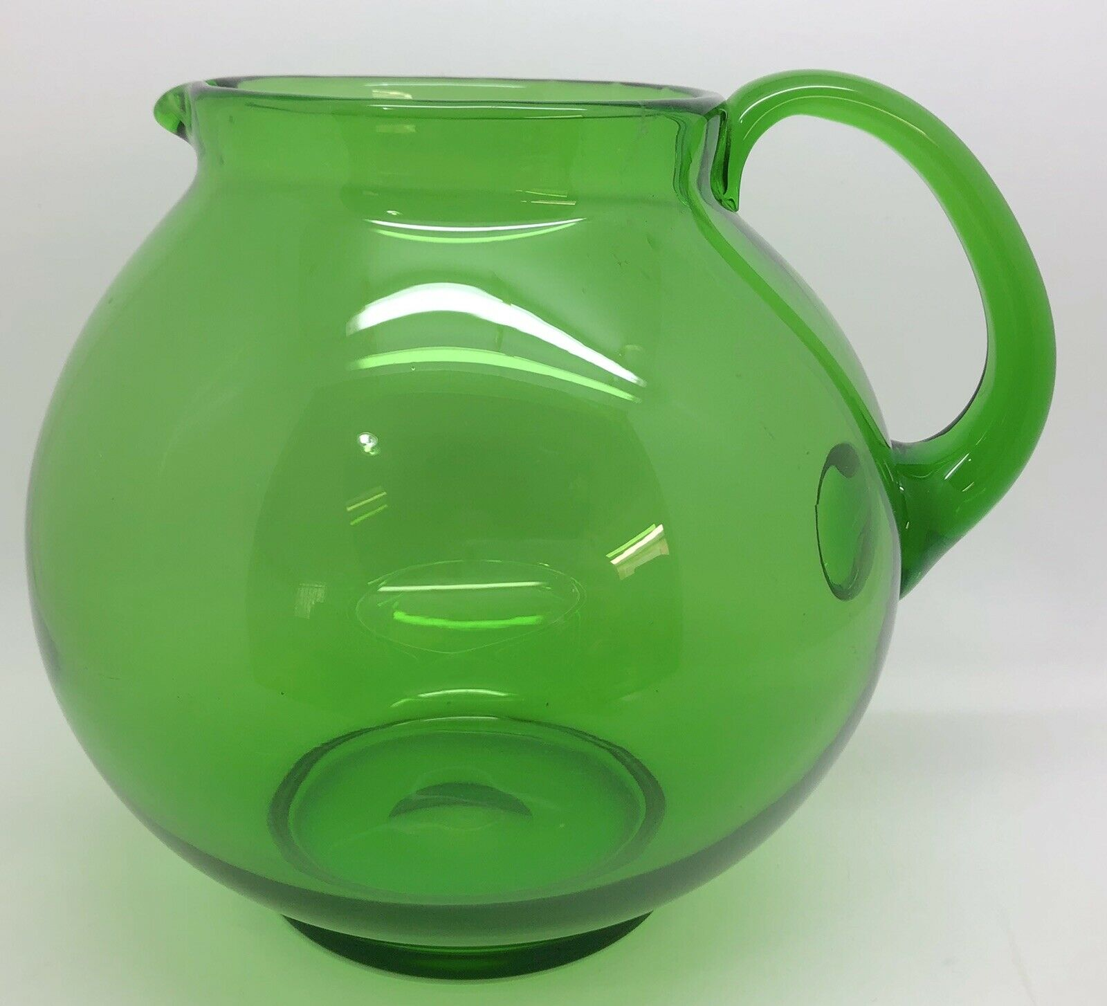 Mid-Century Blown Glass Emerald Green Round Pitcher (RF936)