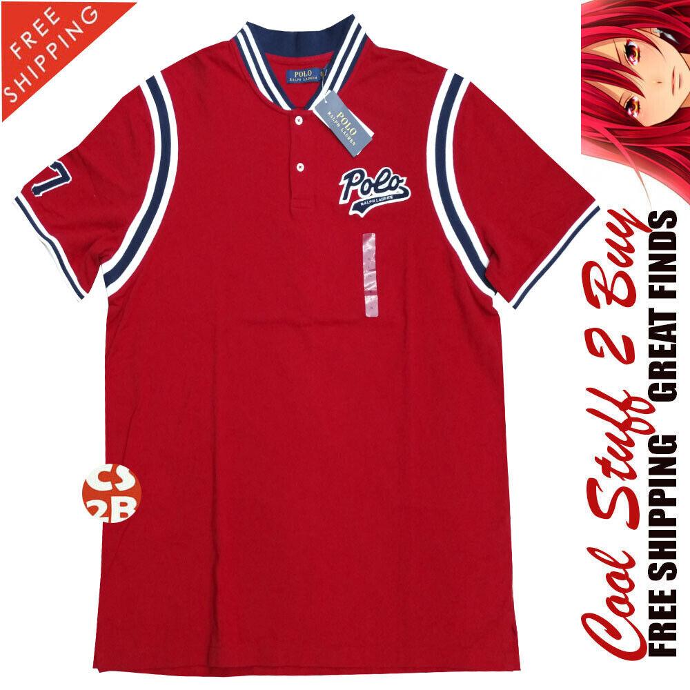 Polo Ralph Lauren nuevo  con etiquetas para hombres Retro De Béisbol-Collar Rojo Camisa Polo Manga SH grandes  El ultimo 2018