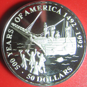1991-COOK-ISLANDS-50-SILVER-PROOF-BOSTON-TEA-PARTY-SHIP-COLONIALIST-UPRISING