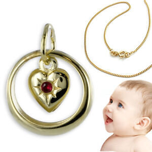 Details zu Baby Taufe Echt Gold 585 Taufring mit rotem Rubin Herz Anhänger und Kette 925 VG