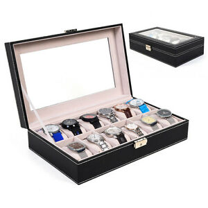 12 Slot Leather Watch Box Display Case Organizer Glass Top Jewelry Storage New