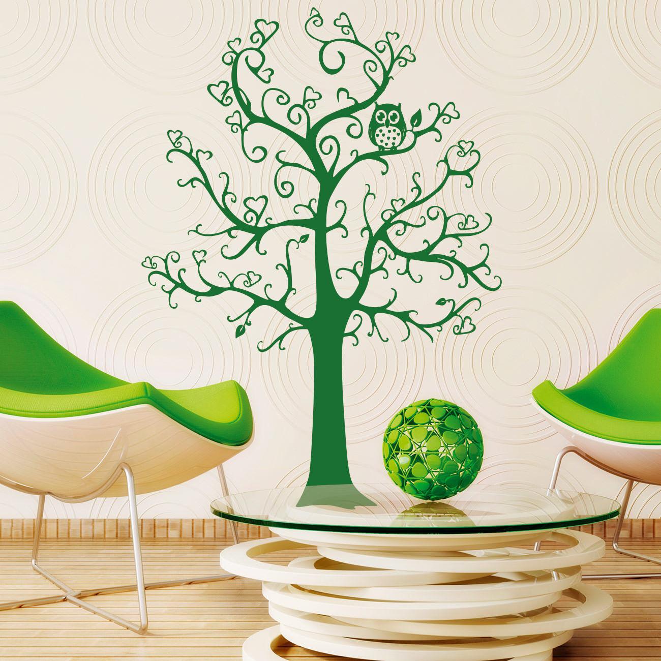 Wandtattoo Wandaufkleber - Baum mit Herzen und einer Eule Kinderzimmer +362+