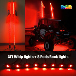 2x 4ft Led Whip Lights 8 Pods Rgb Rock Lights Bluetooth For Utv Atv Polaris Rzr Ebay