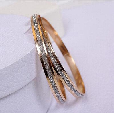 2PCS Elegant Lady Gold Filled With Retro Double Hoop Style Matte Bangle Bracelet