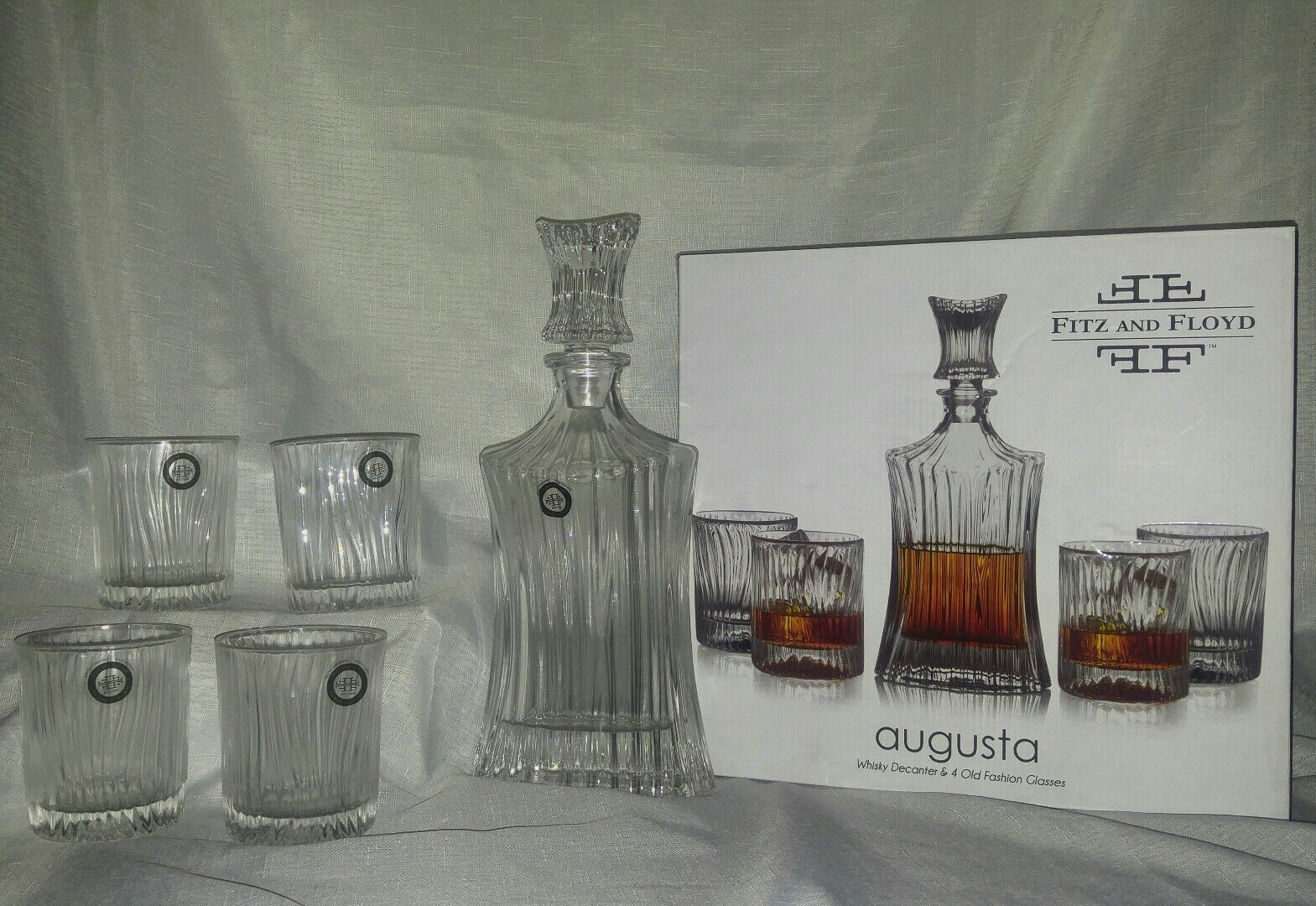 Nip Fitz and Floyd Augusta decanter and glasses 5 pc set