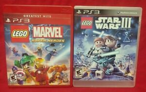Lego-Star-Wars-III-Lego-Marvel-Heroes-Game-Lot-Sony-PlayStation-3-PS3-Tested