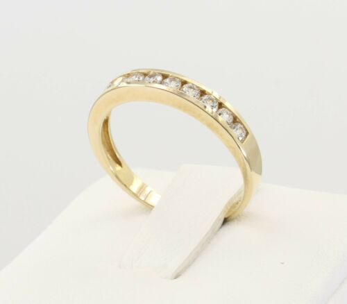 0.50 Ct 14K Real Gold Round Cut Channel Set Wedding Anniversary Ring Band