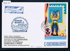 72697) LH/AA FF München - Basel Schweiz 3.9.2001, Kte Block AK Jungfrau