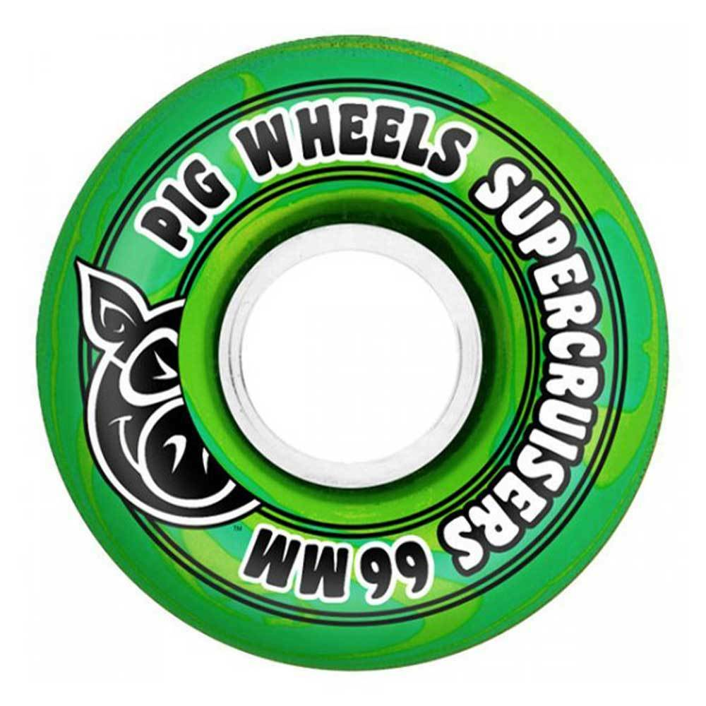 Ruote Pig Wheels Supercruiser Swirl Green 66MM - Ruote Cruiser e Longboard