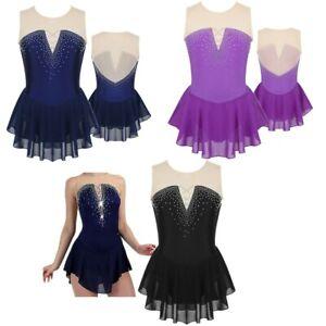 Girls-Ice-Skating-Dress-Kids-Rhinestone-Ballet-Dance-Leotard-Gymnastics-Costume