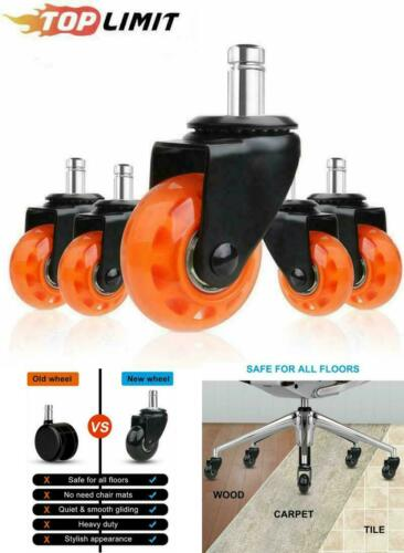"""Scratch Free Quiet Casters for Office Chair Caster Wheels 2/"""" Plug-In 11 X 22 mm"""