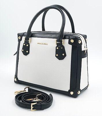 MICHAEL KORS Tasche Leder Handtasche MD Satchel Schwarz, Weiss, Uvp: 375€, NEU