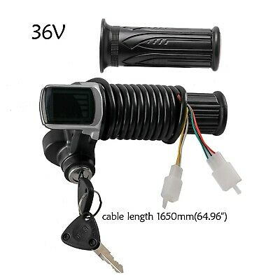 36V Scooter Bicycle E-bike Handlebar Twist Grip Throttle w//LCD Display Key Lock