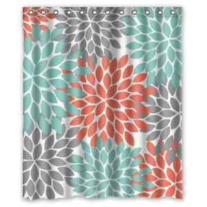 Orange Grey Green Dahlia Floral Pattern Bathroom Shower Curtain 60 X 72 Inch