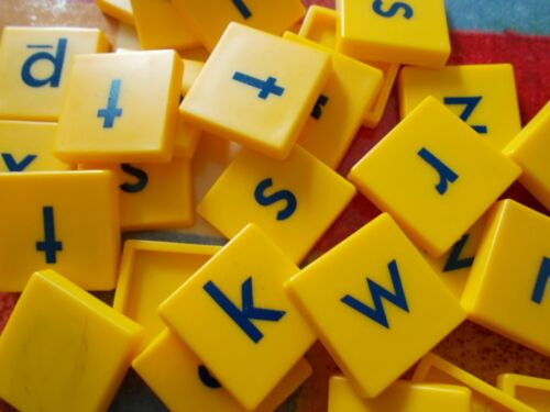 Yellow Plastic Scrabble Junior Tiles Only Used Scrabble Junior Spare Tiles