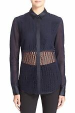 NWT $350 RAG & BONE Luna Navy Blue Mesh Silk Blend Top Blouse Shirt - XS (0-2-4)