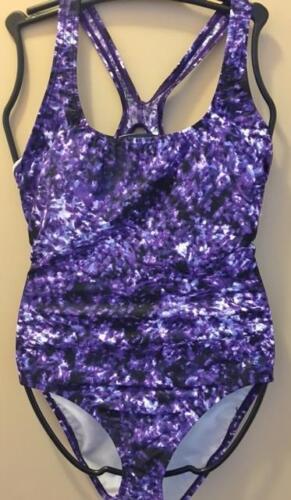 Ladies SPEEDO Purple Black White Muddled Print Racer Back ONE piece Swimsuit