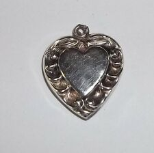 """VINTAGE STERLING SILVER ORNATE 7/8"""" PUFFY HEART CHARM"""