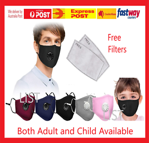 Washable Reusable PM2.5 Anti Air Pollution Face Mask With Respirator & 3 Filters