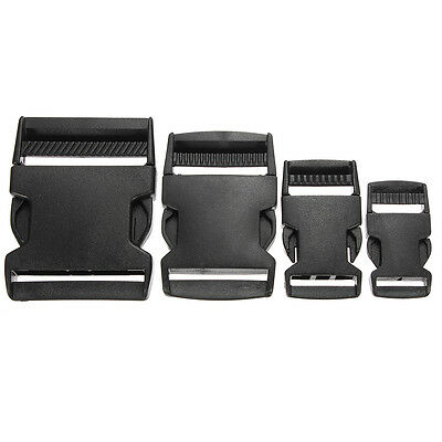 5pcs Black Plastic Side Quick Release Clasp Buckles Webbing Strap 20/25/40/50mm