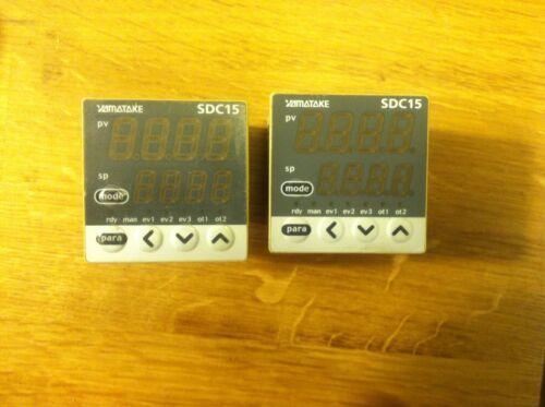 LOT OF 2 YAMATAKE SDC15  C15TV0RA0100 AC100-240V DIGITAL TEMPERATURE CONTROLLERS
