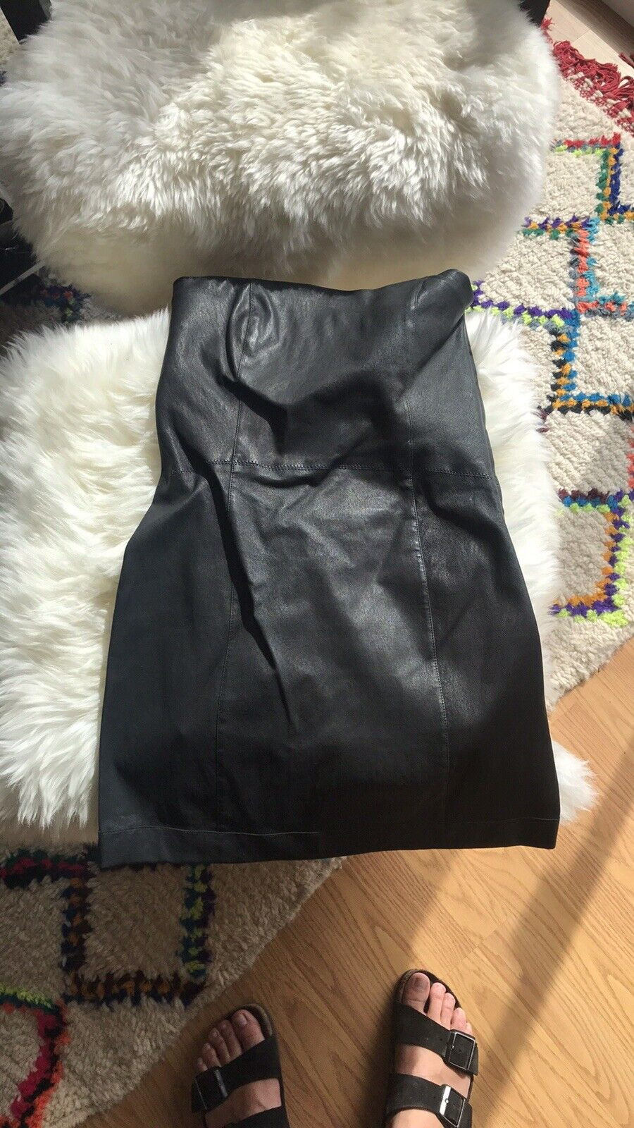 PIERRE BALMAIN en Cuir Noir Robe SZ 40