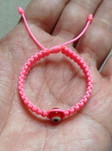 Good Luck Charm. Red Glass Evil Eye Baby Girl  Pink String Bracelet