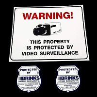 Home Security Cameras In Use Yard Warning Sign+brinks Window Sticker Decal Lot