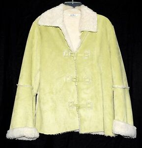 Natalie & Me Lime Green Faux Suede with White Fleecy Lining Womens Jacket Size L