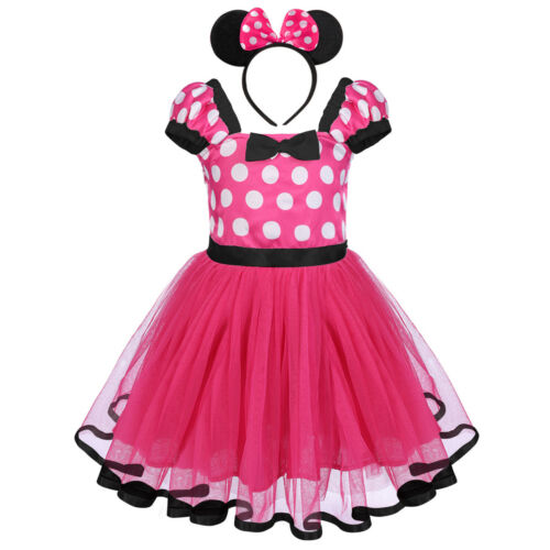 Minnie Mickey Mouse Fancy Dress Toddler Baby Kid Girls Tulle Dresses Headband