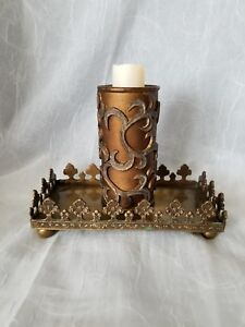 Image Is Loading BILL BLASS BROWN CARVED WAX STAND Votive Tealight