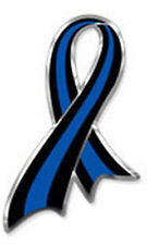 Awareness Ribbon Magnet Thin Blue Line Chrome