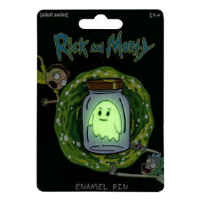 Rick-and-Morty-Ghost-in-a-Jar-Glow-in-the-Dark-Small-Enamel-Pin-NEW