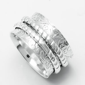 Solid-925-Sterling-Silver-Wide-Band-Handmade-Spinner-Ring-Jewelry-Size-7-B-0112